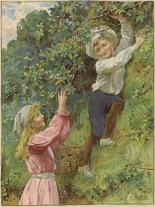 A Young Girl and a Young Boy Picking Blackberries by Eveline Lance