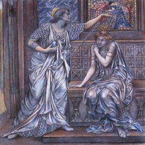 Finished Study for Queen Eleanor and Fair Rosamund, C.1900-5 (Chalk) (See 27988) by Evelyn De Morgan