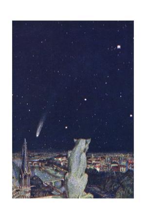 Halley's Comet Seen from Notre Dame, Paris