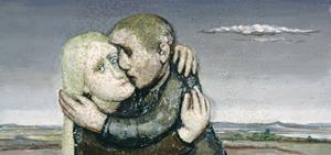 Loving Couple in Landscape, 1980 by Evelyn Williams