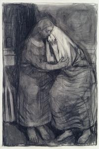 """Study for """"The Bereavement"""", 1974 by Evelyn Williams"""