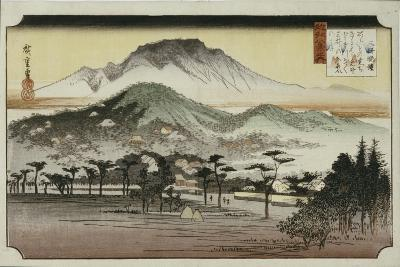 Evening Bell at Mii Temple, from the Series 'Eight Views of Lake Biewa'-Ando Hiroshige-Giclee Print