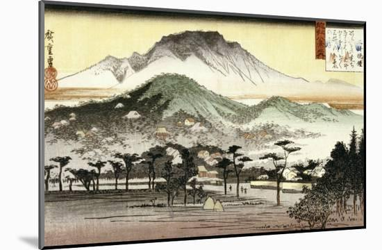 Evening Bell at Mii Temple-Ando Hiroshige-Mounted Giclee Print