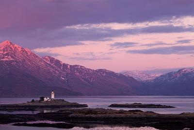 Evening Glow over the Lighthouse on the Isle of Ornsay--Photographic Print