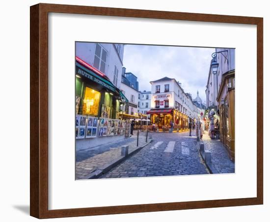 Evening light and restaurants, Montmartre region of Paris.-Sylvia Gulin-Framed Photographic Print