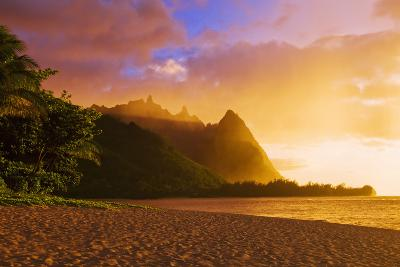 Evening Light on Na Pali Coast Spires from Tunnels Beach, Island of Kauai, Hawaii-Russ Bishop-Photographic Print