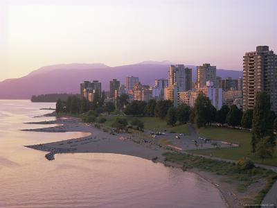Evening Light on Sunset Beach Park in English Bay, British Columbia, Canada-Pearl Bucknell-Photographic Print