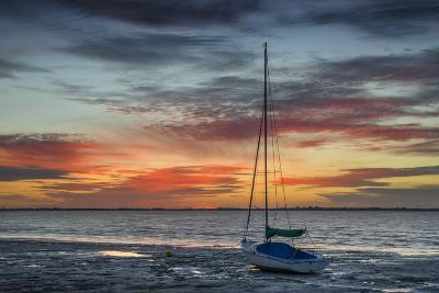 Evening Light with Sailboat at the Wadden Sea, Dangast, Jade Bay, the North Sea, Frisia-Axel Ellerhorst-Photographic Print