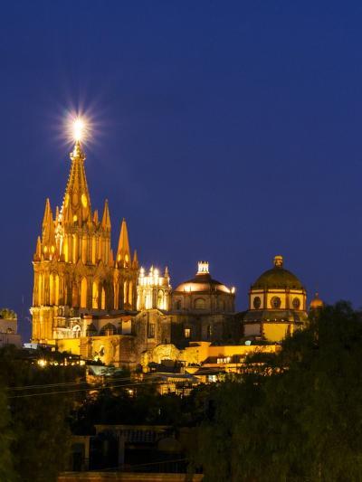 Evening Lights Parroquia Archangel Church San Miguel De Allende, Mexico-Terry Eggers-Photographic Print
