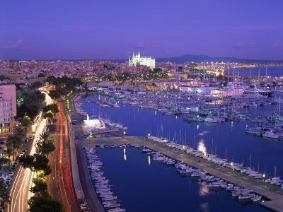Evening Lights, with Boats in the Marina and Palma Cathedral across the Bay, Majorca--Photographic Print