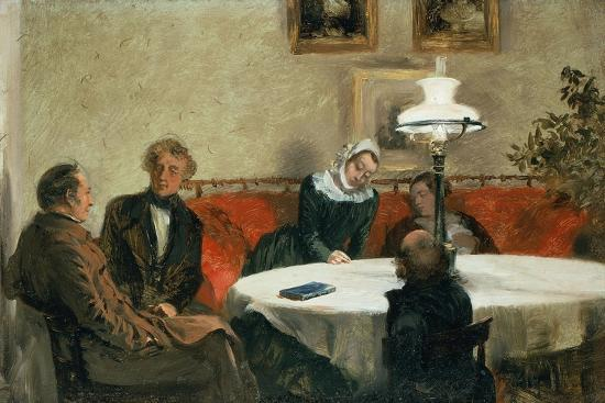 Evening Meeting, the Maerker Family, Menzel and His Sister at the Table--Giclee Print