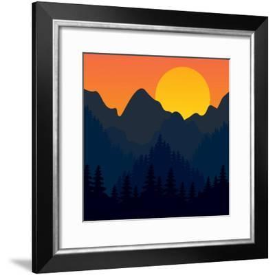 Evening Mountains Forest-Zolotnyk Mariana-Framed Premium Giclee Print