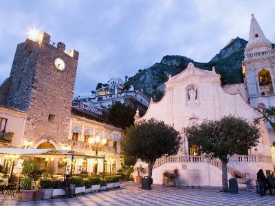 Evening, Piazza Ix Aprile, Torre Dell Orologio, Church of San Giuseppe, Taormina, Sicily, Italy-Martin Child-Photographic Print