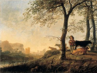 Evening River Landscape with a Cowherd and Cows by the Edge of a Copse, a Bridge and Ruins Beyond-Abraham van Calraet-Giclee Print