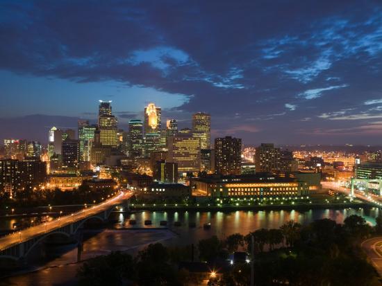 Evening Skyline Scene from St. Anthony Main, Minneapolis, Minnesota-Walter Bibikow-Photographic Print