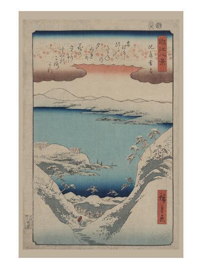 Evening Snow at Hira (Hira No Bosetsu)-Ando Hiroshige-Art Print