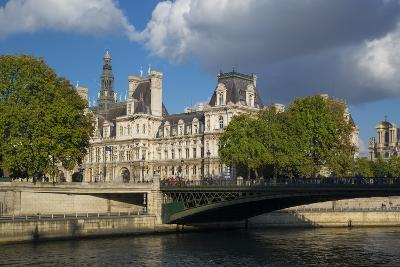 Evening Sunlight on Hotel de Ville across River Seine, Paris, France-Brian Jannsen-Photographic Print