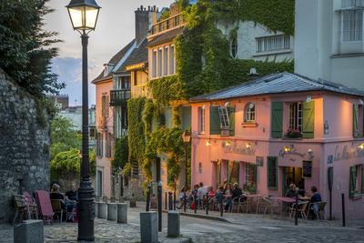 Evening Sunlight on La Maison Rose in Montmartre, Paris, France-Brian Jannsen-Photographic Print