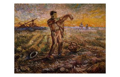 Evening, The End of the Day-Vincent van Gogh-Giclee Print