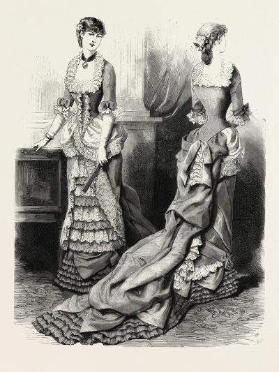 Evening Toilette Front and Back, Fashion, 1882--Giclee Print