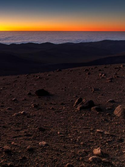 Evening Twilight over a Barren and Martian-Looking Desert Landscape-Babak Tafreshi-Photographic Print