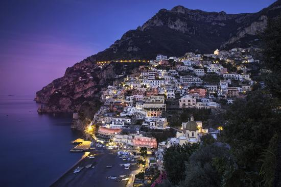 Evening View Along the Amalfi Coast of the Hillside Town of Positano, Campania, Italy-Brian Jannsen-Photographic Print