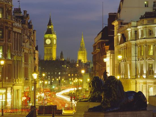 Evening View from Trafalgar Square Down Whitehall with Big Ben in the Background, London, England-Roy Rainford-Photographic Print