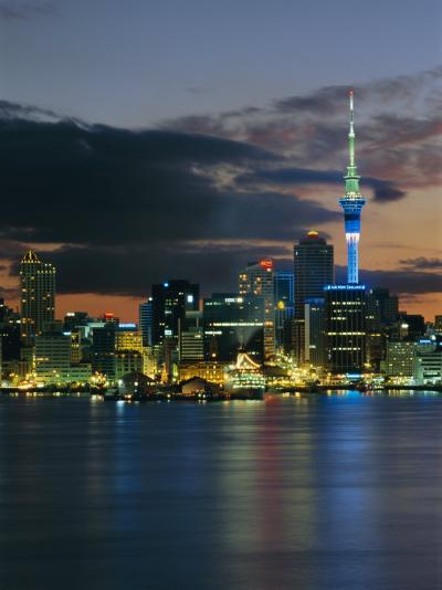 Evening View of City Skyline Across Harbour, Auckland, Central Auckland, North Island, New Zealand-Neale Clarke-Photographic Print