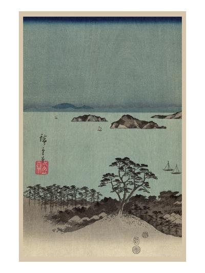 Evening View of Eight Famous Sites at Kanazawa in Musashi Province (Uyokanazawa Hassshoyakei) No.1-Ando Hiroshige-Art Print