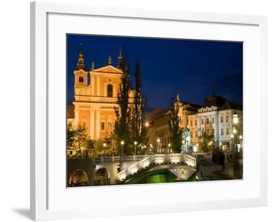 Evening View of Franciscan Church, Presernov Trg Square and Triple Bidge, Ljubljana, Slovenia-Steve Outram-Framed Photographic Print