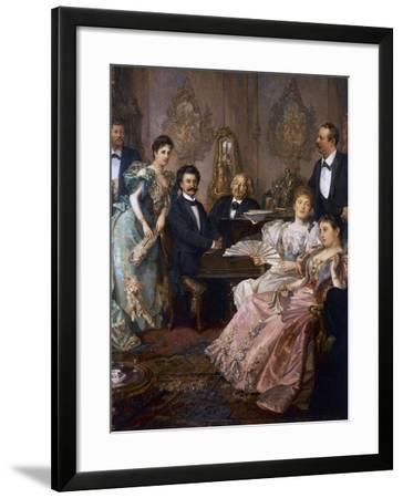 Evening with Johann Strauss, 1894, Painting by Franz Von Bayros--Framed Giclee Print