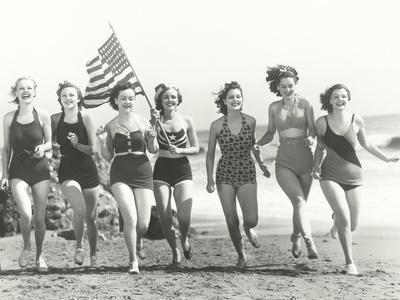 Patriotic Women at the Beach