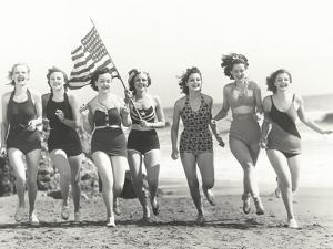 Patriotic Women at the Beach by Everett Collection
