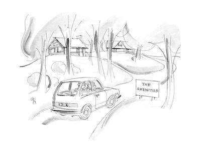 """Car passes sign by small houses """"The Amenities"""". - New Yorker Cartoon"""