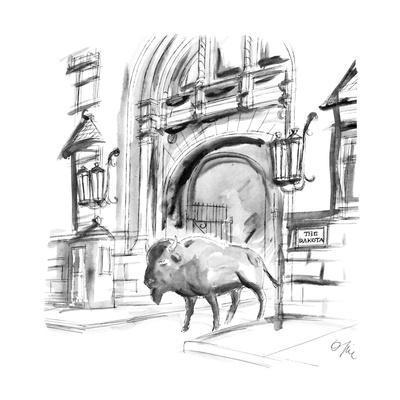 "Large buffalo walks out of ""The Dakota"". - New Yorker Cartoon"