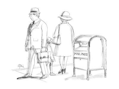 """Mail box with sign """"Mailings"""" on it. - New Yorker Cartoon"""