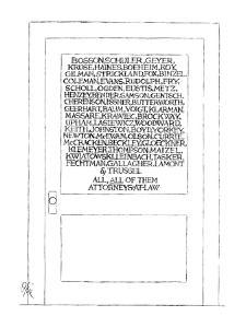 Typical law office door,but with 57 partners listed on the glass, ending w? - New Yorker Cartoon by Everett Opie
