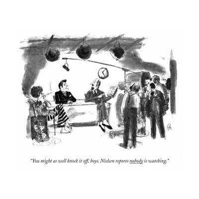 """""""You might as well knock it off, boys. Nielsen reports nobody is watching. - New Yorker Cartoon by Everett Opie"""