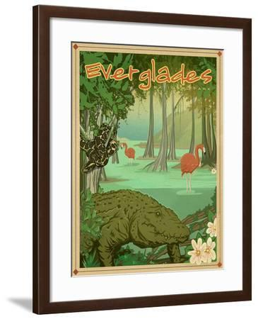 Everglades-Old Red Truck-Framed Giclee Print
