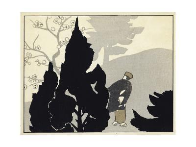 Evergreen Silhouettes with Japanese Man Watercolor--Art Print