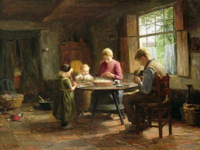 A Dutch Interior - Grace before the Meal by Evert Pieters