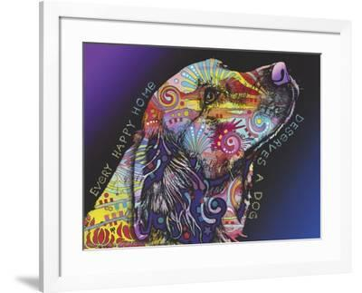 Every Happy Home, Deserves a Dog, Pets, Dogs, Purple fade, Looking up, Animals, Pop Art, Stencils-Russo Dean-Framed Giclee Print