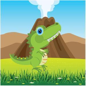 Cartoon of the Pangolin Dinosaur on Glade with Flower by Evgeniy Shipitsin