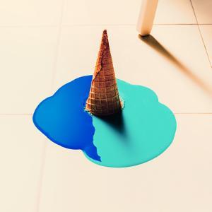 Fake Ice Cream Flows down on the Floor. Fashion Background by Evgeniya Porechenskaya