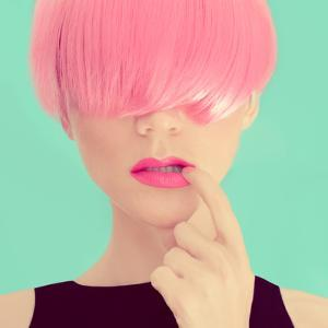 Girl with Pink Hair. Fashionable Trend by Evgeniya Porechenskaya