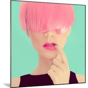 Girl with Pink Hair. Fashionable Trend by Evgeniya Porechenskaya