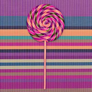 Lollipop on Bright Striped Background. Vanilla Minimal Style by Evgeniya Porechenskaya
