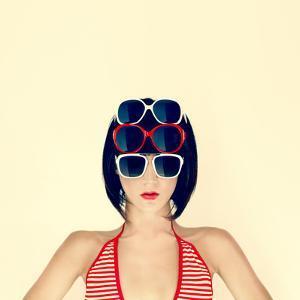 Portrait of a Young Girl in Stylish Glasses by Evgeniya Porechenskaya