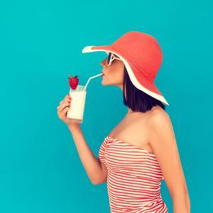 Sensual Girl with a Summer Cocktail by Evgeniya Porechenskaya
