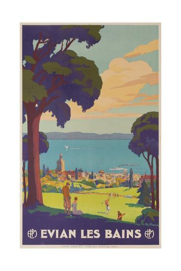Evian Les Bains, French Plm Railway Gold Poster--Giclee Print